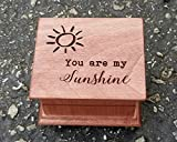 Mother's day gift, Custom made music box with You are my sunshine engraved on the top along with sun, great gift for mom or daughter, Mother's day