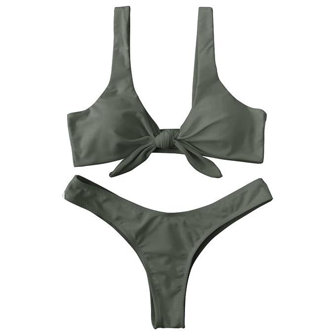 8b96c02e7c ZAFUL Women s Tie Knot Front Padded High Cut Thong Two Piece Bikini  Set(Army Green