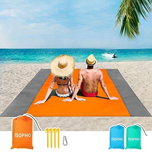 ISOPHO Outdoor Beach Blanket 79'' x 83'' Waterproof Picnic Blanket