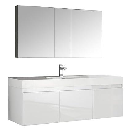 Fresca Mezzo 60u0026quot; White Wall Hung Single Sink Modern Bathroom Vanity  With Medicine Cabinet