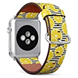 Compatible with Apple Watch 38mm & 40mm Leather Watch Wrist Band Strap Bracelet with Stainless Steel Clasp and Adapters (Fresh Lemons)