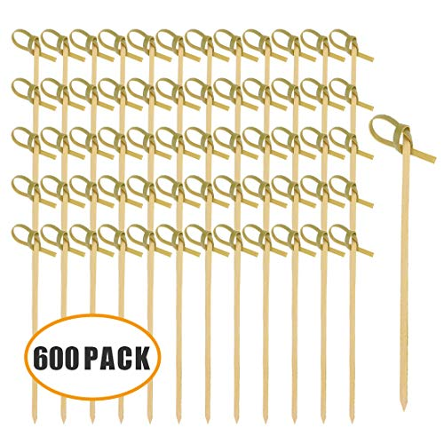 Natural Bamboo Knot Skewers,Bamboo Picks with Knot for Cocktail Party or Barbeque Snacks,Pack of 600,4.1 Inches