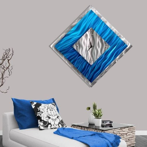 Square Blue & Silver Abstract Metal Wall Clock - Metallic Functional Metal Wall Art Accent Time-keeper - Blue Ice By Jon Allen - 33-inch