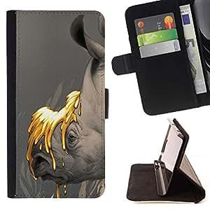 Tierra Save Planet Rhino Oro- Modelo colorido cuero de la carpeta del tirón del caso cubierta piel Holster Funda protecció Para Samsung Galaxy S4 IV I9500