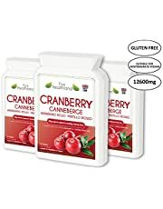Gluten Free Cranberry Concentrate Supplement Tablets. Equal to 12,600mg of Fresh Cranberries! Suitable for Vegetarians and Vegans. Made in UK. 3 Bottles
