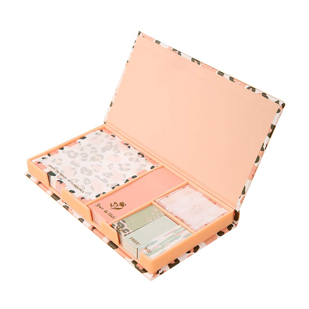 Sticky Notes Pads Set Leopard Print Pink Color Memo Pads with Memo Pads Holder Gift Box 4 Different Size Self Sticky Note Pads for Book Mark, Daily Reminder, Taking Notes, Journal Planner, and Office by Buqoo
