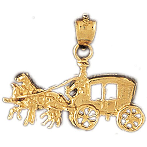 - Jewels Obsession Horse & Wagon Pendant | 14K Yellow Gold Horse & Wagon Pendant - 20 mm