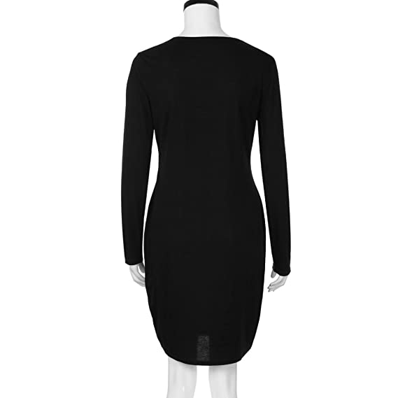 Vestido mini para embarazadas, de moda con cuello en O y manga larga, vestido informal y suelto para maternidad y lactancia blanco negro M: Amazon.es: ...