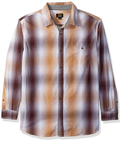 LEE Men's Long Sleeves Button Down Shirt, Dijon, X-Large Dijon Finish