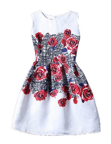 PU&PU Robe Aux femmes Gaine Vintage / Street Chic,Fleur Col Arrondi Au dessus du genou Polyester , red-l , red-l