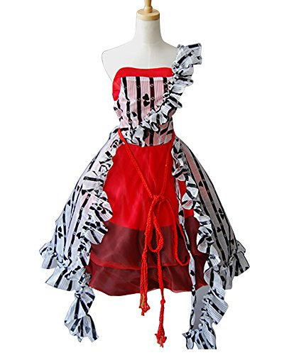 Ya-cos Halloween Masquerade Alice Tim Burton Red Court Dress Costume