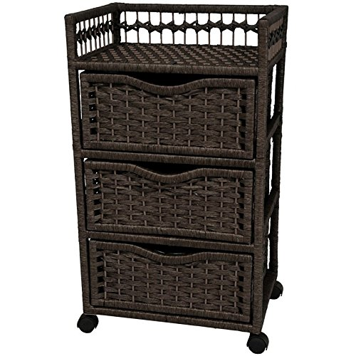 Oriental Furniture 31'' Natural Fiber Chest of Drawers on Wheels - Black by ORIENTAL Furniture