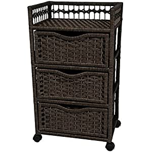 """Oriental Furniture 31"""" Natural Fiber Chest of Drawers on Wheels - Black"""