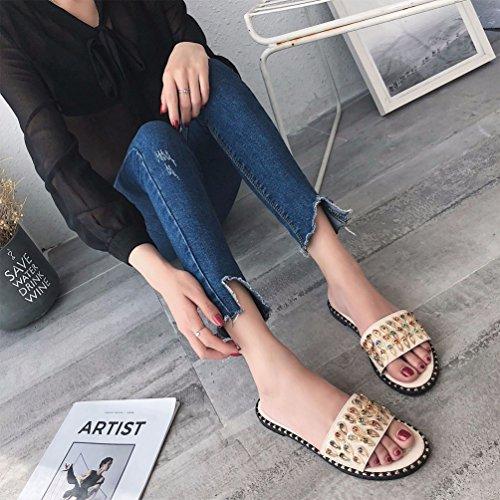 Femmes pour Chaussures Tongs Sandales Mules Strass Plage Clouté JITIAN Plates Claquettes Beige Confort Mode Ft6T0Iwwxq