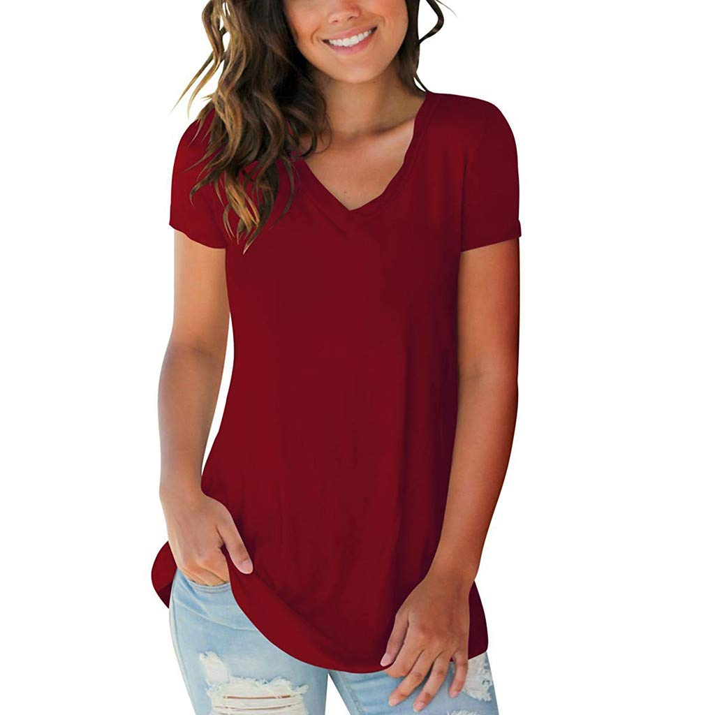EOWEO Women T Shirt,2019 Womens Summer Short Sleeve V-Neck Solid T-Shirt Casual Loose Tops Blouse(Small,Red)