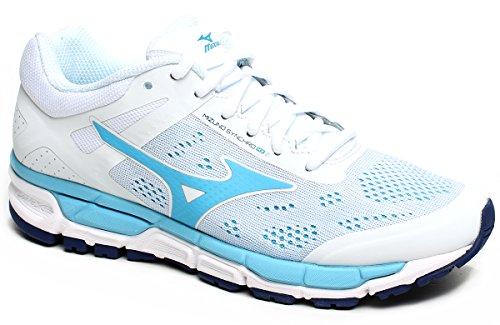 Scarpe running donna Mizuno, mod. Synchro MX 2 Wos, art.J1GF171928, colore bianco con dettagli celeste , tomaia in mesh.