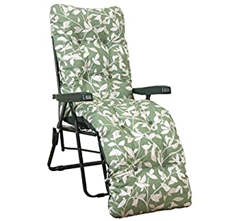 Ashley Green Cushion Garden Sun Lounger Multi Position Reclining Relaxer Chair
