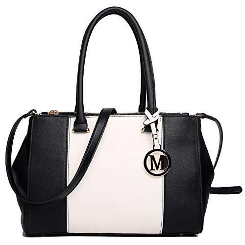 Miss Lulu Women Shoulder Bags Tote PU Handbags V Patchwork Zip Style With Two Inner Open Pockets And a Long Strap 1643 Black