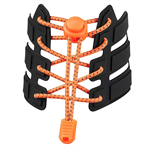 Adult Tie - Shoelaces, UGY No Tie Shoelaces for All Adult and Kids Sneakers, Elastic Lock Shoe Laces Fits Hiking Boots, Board Shoes and Casual Shoes (Flourescent Orange)