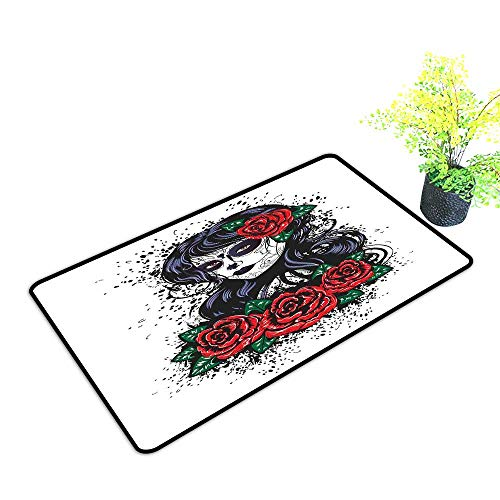 Waterproof Door mat Skull Dead Hair Sugar Skull Lady with Roses in Retro Ink Style Design Print W20 xL31 Easy to Clean Red Black White Green ()