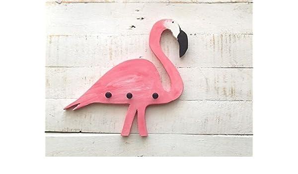 Perchero con forma de FLAMENCO en color rosa. Hecho a mano ...