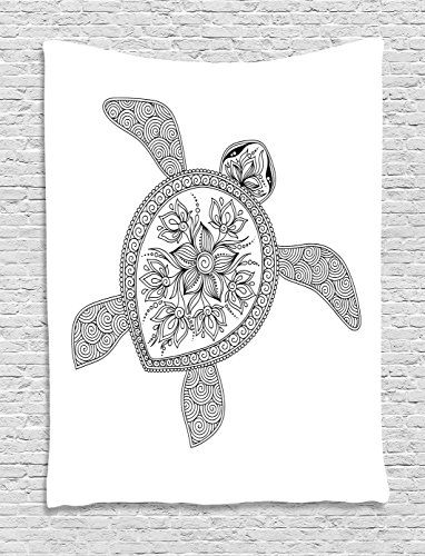 Ambesonne Turtle Tapestry, Artistic Turtle Figure Henna Mehndi Tattoo Style Doodles Floral Ornaments Asian, Wall Hanging for Bedroom Living Room Dorm, 40 W x 60 L Inches, Black and White - Henna Floral Tattoos