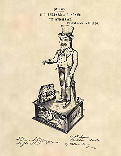 Patent Prints - Uncle Sam Mechanical Bank Patent Art - Toy Wall Art - Patent Art Poster (8.5 x 11
