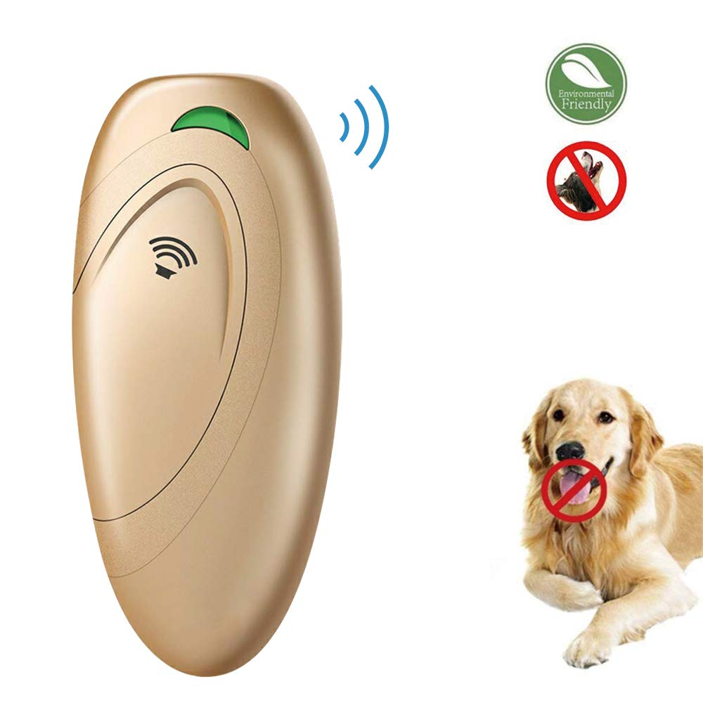 Ultrasonic barking control, Dog bark control, Bark trainer, Anti barking device, Handheld ultrasonic dog bark deterrent with Wrist Strap,No bark devices,Barking dog deterrent,Bark controller (Gold) by EllySily