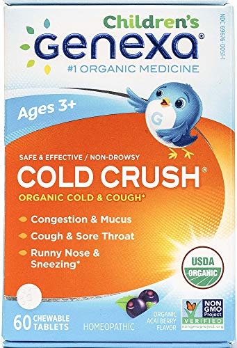 - Genexa Homeopathic Cold Crush for Children: The Only Certified Organic Kids Cold & Cough Medicine. Physician Formulated, Natural & Non-GMO Verified (60 Chewable Tablets)