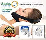 Snoring Nurse Anti-Snoring Devices – 3 in 1, with Chin-Strap, Mouthpiece & Nose Vents – Fast Acting Snore Stopper Solution – Safe Medical Grade Silicone & Neoprene, for All Night Comfort