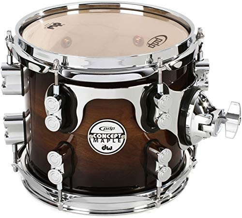 DW Concept Exotic Series Walnut to Charcoal Burst, Suspended Tom 8 x 7 in.
