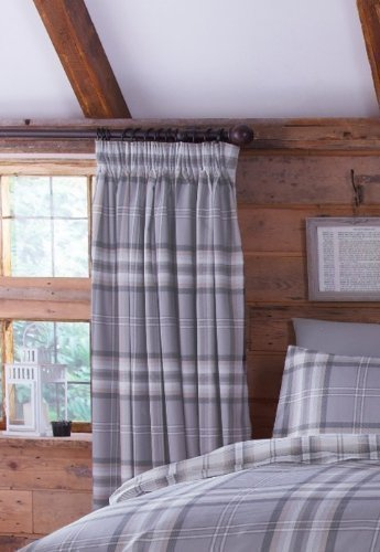 EDINBURGH GREY TARTAN PLAID COTTON 66quot X 72quot FULLY LINED PENCIL PLEAT CURTAINS