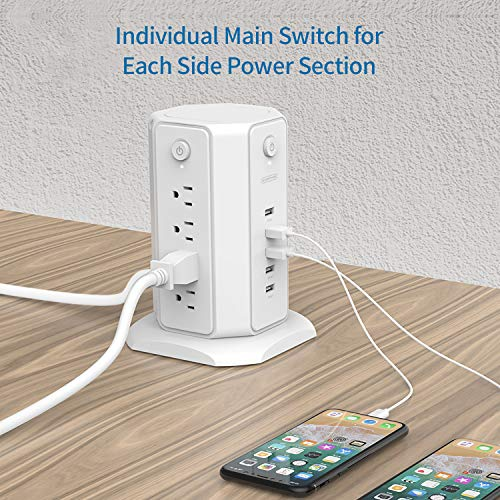 Power Strip Tower - NTONPOWER Surge Protector Flat Plug, 8 Outlets 5 USB Desktop Charging Station, 6ft Heavy-Duty Extension Cord, Individual Switches Control, 15A Circuit Breaker, for Home and Office