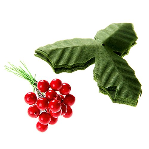 dophee DIY Home Decor 50Pcs Dark Red Artificial Holly Berries + 50Pcs Green Artifical Leaves