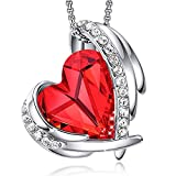 CDE Necklace for Women 18K White Gold Plated Embellished with Crystals from Swarovski Red Heart Shape Pendant Necklace Jewelry: more info