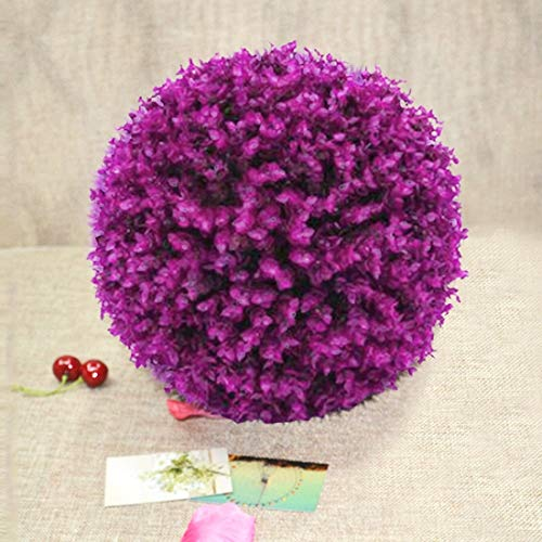 (Dig dog bone Artificial Purple Eucalyptus Plant Ball Topiary Wedding Event Home Outdoor Decoration Hanging Ornament. Diameter: 15 inch)