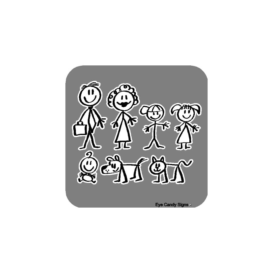 Stick People Family Car Decals Stickers Graphics Item #4