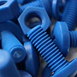 20 x Blue Philips Pan Head Screws Polypropylene (PP) Plastic Nuts and Bolts, Washers, M8 x 20mm, Acrylic, Water Resistant, Anti-Corrosion, Chemical Resistant, Electrical Insulator, Strong.
