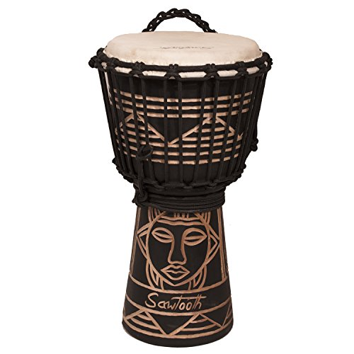 Sawtooth Harmony Series 8'' Hand Carved Spirit Design Rope Djembe, Satin Black Finish by Rise by Sawtooth