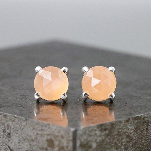 - 6mm Rose Cut Peach Moonstone Stud Earrings