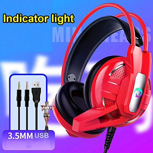 XSH Gaming Headsets 7.1 Channel USB Deep Bass Stereo Wired Gamer Earphone Microphone with Led Light Headphones for Gamers Laptop Mac Nintendo Switch Games,D (5 Gta Earphones)