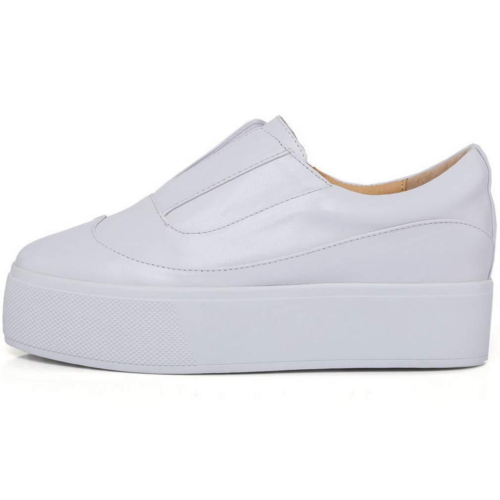 YAN Damenschuhe Spring & Fall Leder Low-Top Casual schuhe Academy Round Head Academy schuhe Deck Schuhe Outdoor Walking Schuhe Weiß Weiß 39 6d6cf1