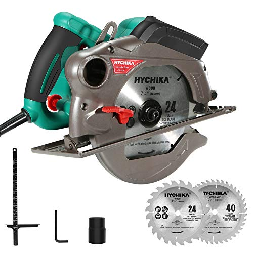 "Circular Saw,HYCHIKA 1500W/12.5A Corded Electric Saw with 5500RPM, 2Pcs Blades(24T+ 40T) plus 1 Allen Wrench,Max Cutting Depth 2-1/2""(90°), 1-4/5""(45°)"