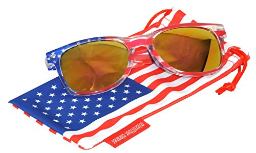 Classic American USA Patriot Flag Sunglasses Yellow Mirror Lens Clear American Flag Frame OWL