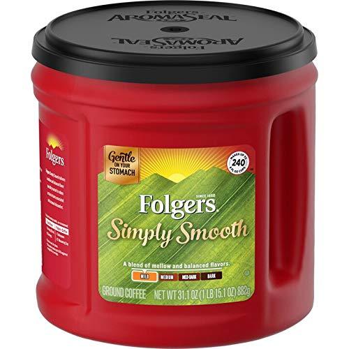 Folgers Simply Smooth Mild Roast Ground Coffee, 31.1 Ounces