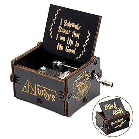 youtoo de música caja Retro Madera Mano parte Reloj creativo madera artesanía clásico Manivela Caja de música para regalos Harry Potter Melodía: Amazon.es: ...