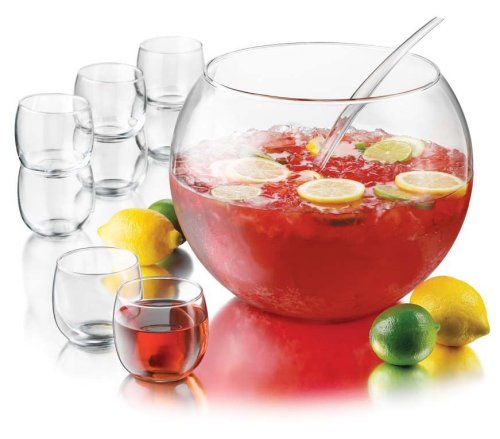 Libbey Selene Punch Bowl Set Includes Punch Bowl, Punch Cups and Ladle