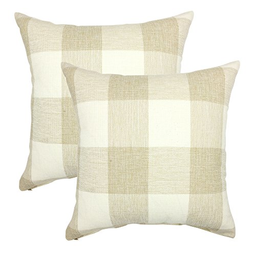YOUR SMILE Retro Farmhouse Tartan Checkers Plaid Cotton Linen Decorative Throw Pillow Case Cushion Cover Pillowcase for Sofa 18 x 18 Inch Set of 2 Beige/White