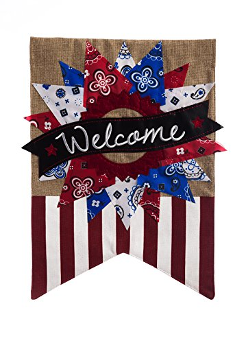 (Patriotic Banner Welcome Garden Flag)