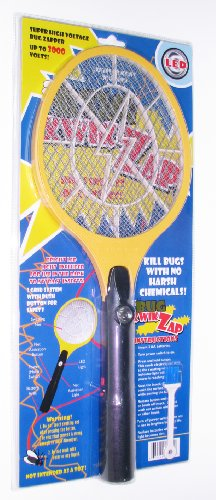 BugKwikZap Bug Zapper Electric Fly Swatter Model Hammer Stunning 3000 Volts 3AA Batteries LED 1PK